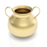 Golden pot on white Stock Photo
