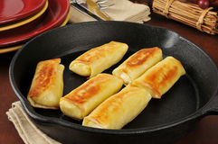 Golden potato blintzes Royalty Free Stock Photos
