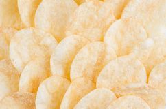 Golden potatoes chips as background, top view. Golden potatoes chips as background, top view Stock Images