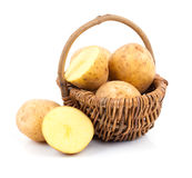 Golden Potatoes in wicker basket Stock Images