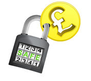 Golden Pound coin caught in security closed padlock isolated vector Stock Photography