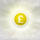 Golden Pound coin in glossy bubble in the air with flare Royalty Free Stock Images