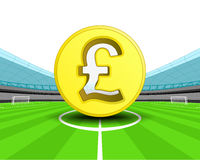 Golden Pound coin in the midfield of football stadium vector Stock Images
