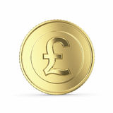Golden pound coin on white background Stock Photos