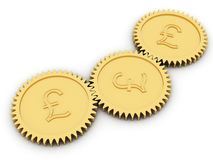 Golden pound gears on white Stock Images