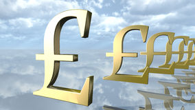 Golden pound money signs in a row. 3D rendering Royalty Free Stock Photos