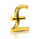 Golden pound sign on white. The pound sign, built in three-dimensional program and presented as a golden object stock image
