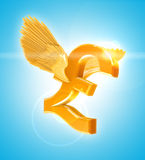 Golden Pound sterling Stock Photography