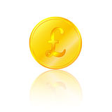 Golden pound sterling. Bank finance Royalty Free Stock Photo