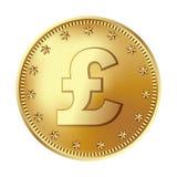 Golden pound sterling coin, money. stock illustration