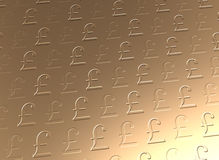 Golden pound sterling currency background. Gold UK pounds sterling symbols gloss background. Golden currency embossing and debossing sign texture pattern Stock Image