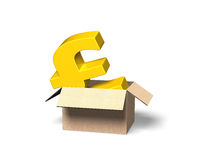 Golden pound sterling in opened cardboard box, 3D illustration Royalty Free Stock Images