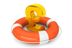 Golden pound symbol in Life Buoy Stock Image