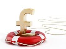 Golden pound symbol on lifebelt. 3D illustration.  Royalty Free Stock Photo