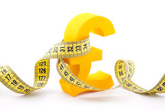 Golden pound symbol and measuring tape Stock Images