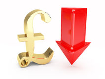 Golden pound symbol and up arrows Stock Images