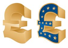 Golden Pound Symbols Stock Images