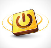 Golden power button Royalty Free Stock Images