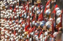 Golden prayer bells of the  Wenwu temple Stock Photo