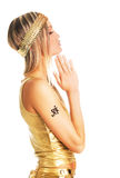 Golden prayer girl Royalty Free Stock Photo