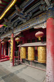 Golden prayer wheels. In front of a buddhist temple. Shenyang city, Liaoning province, china Royalty Free Stock Images