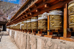 Golden Prayer Wheels Royalty Free Stock Photo