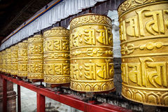 Golden prayer wheels Royalty Free Stock Photography