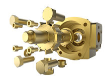 Golden precision engineering Royalty Free Stock Photo