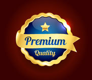 Golden Premium Quality Badge Stock Photo