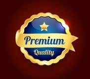 Golden Premium Quality Badge. Golden and blue Premium high quality badge Stock Photo