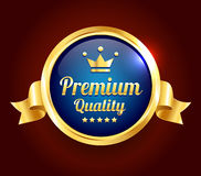 Golden Premium Quality Badge. Golden and blue Premium high quality badge Stock Photography
