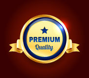 Golden Premium Quality Badge. Golden and blue Premium high quality badge Royalty Free Stock Images