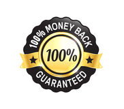 Golden Premium Quality Badge. Golden Premium high quality money back guarantee badge Stock Photo