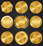 Golden Premium Quality Best Labels Medals Collection on Dark Stock Photo
