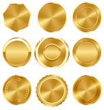 Golden Premium Quality Best Labels Medals Collection on White Stock Photo