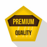 Golden premium quality label icon, flat style. Golden premium quality label icon. Flat illustration of golden premium quality label vector icon for web isolated Stock Photography