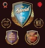Golden premium quality retro vintage badges Royalty Free Stock Image