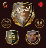 Golden premium quality retro vintage badges Royalty Free Stock Photography