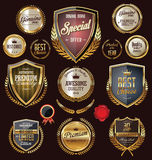 Golden premium quality retro vintage badges Stock Photo