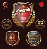 Golden premium quality retro vintage badges Royalty Free Stock Photo