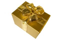 Golden present Stock Photos