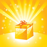 Golden present box Stock Photos