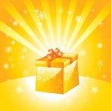 Golden present box Stock Photos