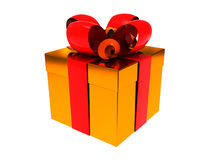 Golden present box Stock Image