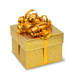 Golden present box Royalty Free Stock Photography