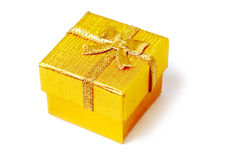Golden present box isolated Stock Image