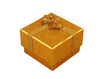 Golden present box isolated on white Royalty Free Stock Photos