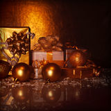 Golden present boxes Stock Photography