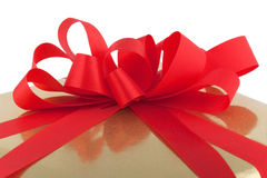 Golden present package Royalty Free Stock Images