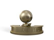 Golden presenter informs society about news Royalty Free Stock Photos